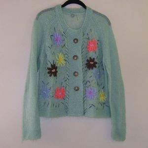 One Girl Who Mohair Blend Floral Yarn Cardigan L